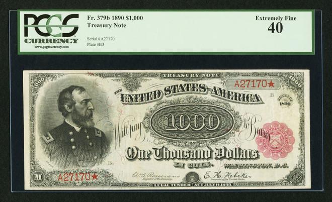 بيع ورقة فئة 1000 دولار عمرها 120 عاما في مزاد بـ 3 3 مليون دولار صحيفة الاقتصادية