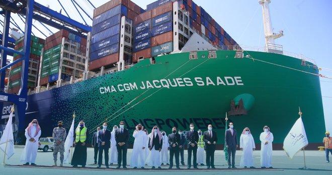 السعودية تستقبل أول وأكبر سفينة حاويات في العالم تعمل بالغاز الطبيعي المسال