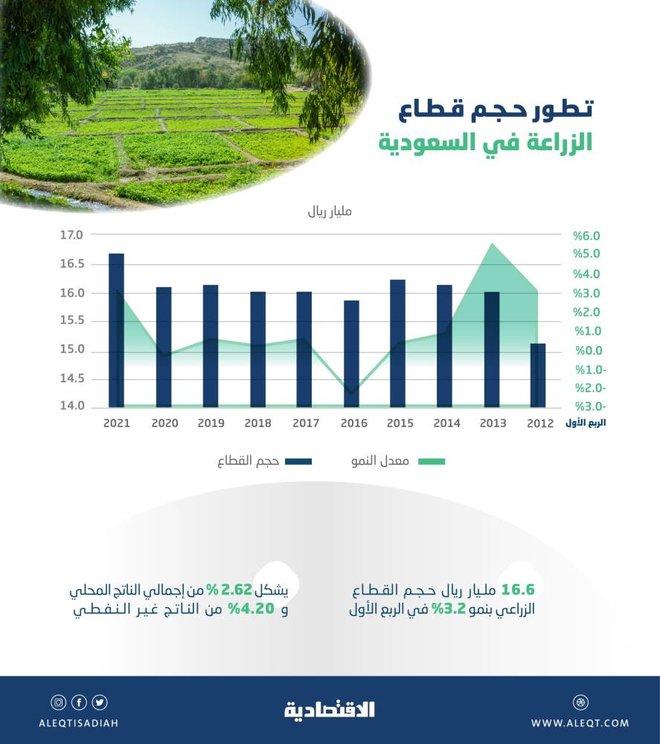 16.6 مليار ريال حجم النشاط الزراعي السعودي في الربع الأول .. نما 3.2 %