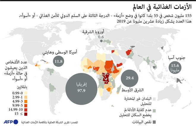 155 مليون شخص في 55 دولة حول العالم يعانون من أزمات غذائية