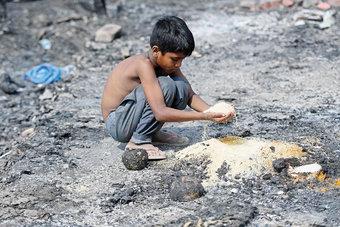 طفل من الروهينجا يلتقط حبوبا غذائية وسط بقايا مخيمهم المتفحم إثر حريق اندلع في نيودلهي
