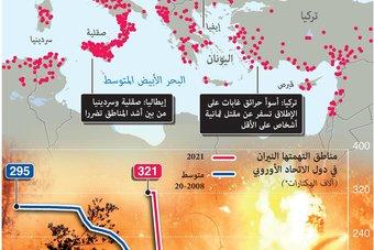 الحرائق تزداد جراء موجة الحر في منطقة البحر الأبيض المتوسط
